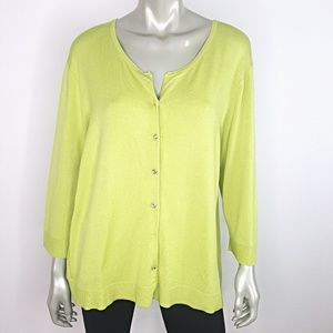 Cable & Gauge Green Soft Knit Cardigan Sweater 1X